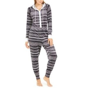 Jenni Hooded One Piece Printed Pajama- Large $60